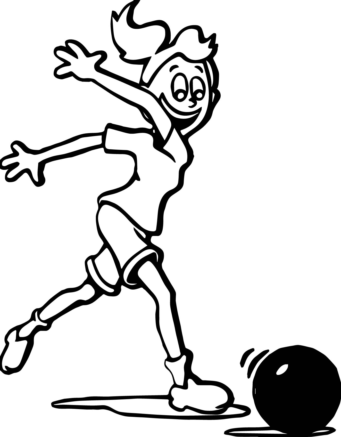 1405x1802 Girl Playing Bowling Coloring Page Wecoloringpage