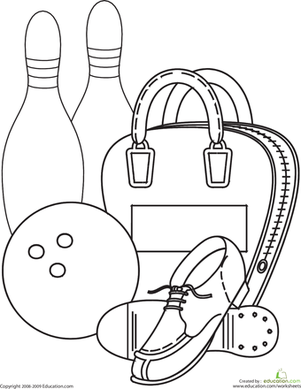 301x389 Bowling Coloring Page Worksheets, Kindergarten And Sport Craft