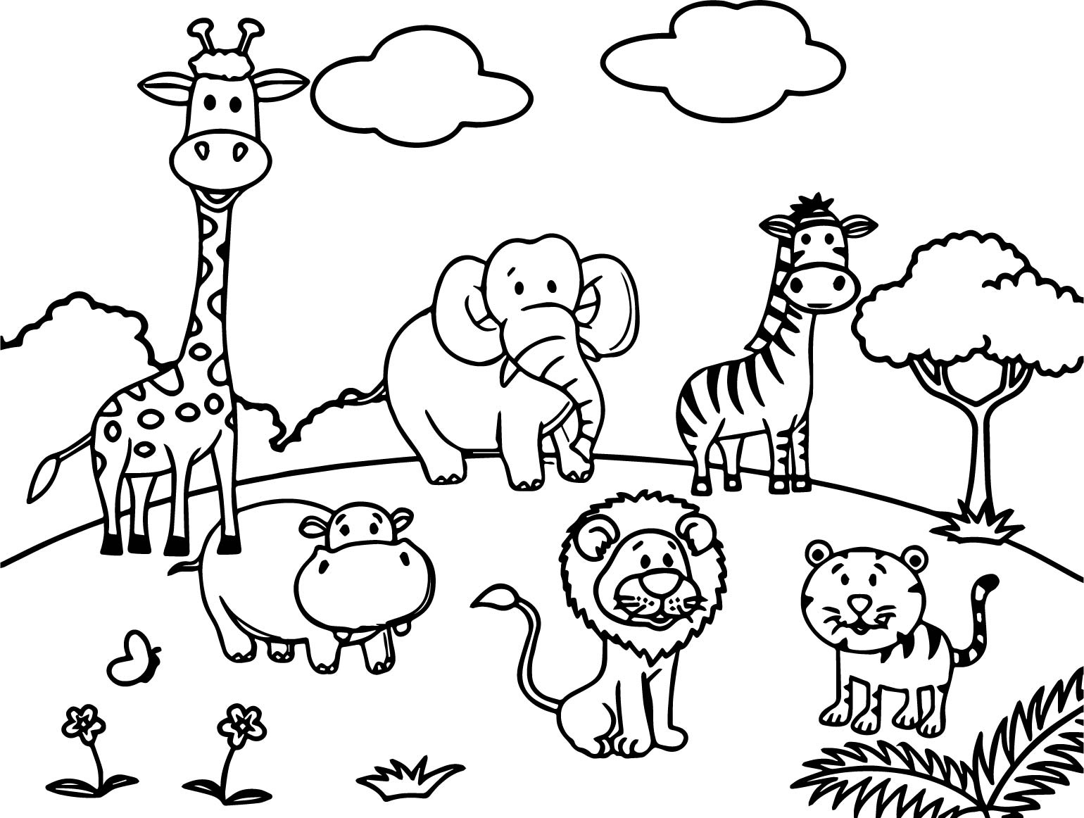 cartoon zoo animals coloring pages at free printable colorings pages to print. Black Bedroom Furniture Sets. Home Design Ideas