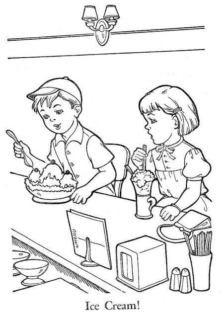 Children Sharing Coloring Page