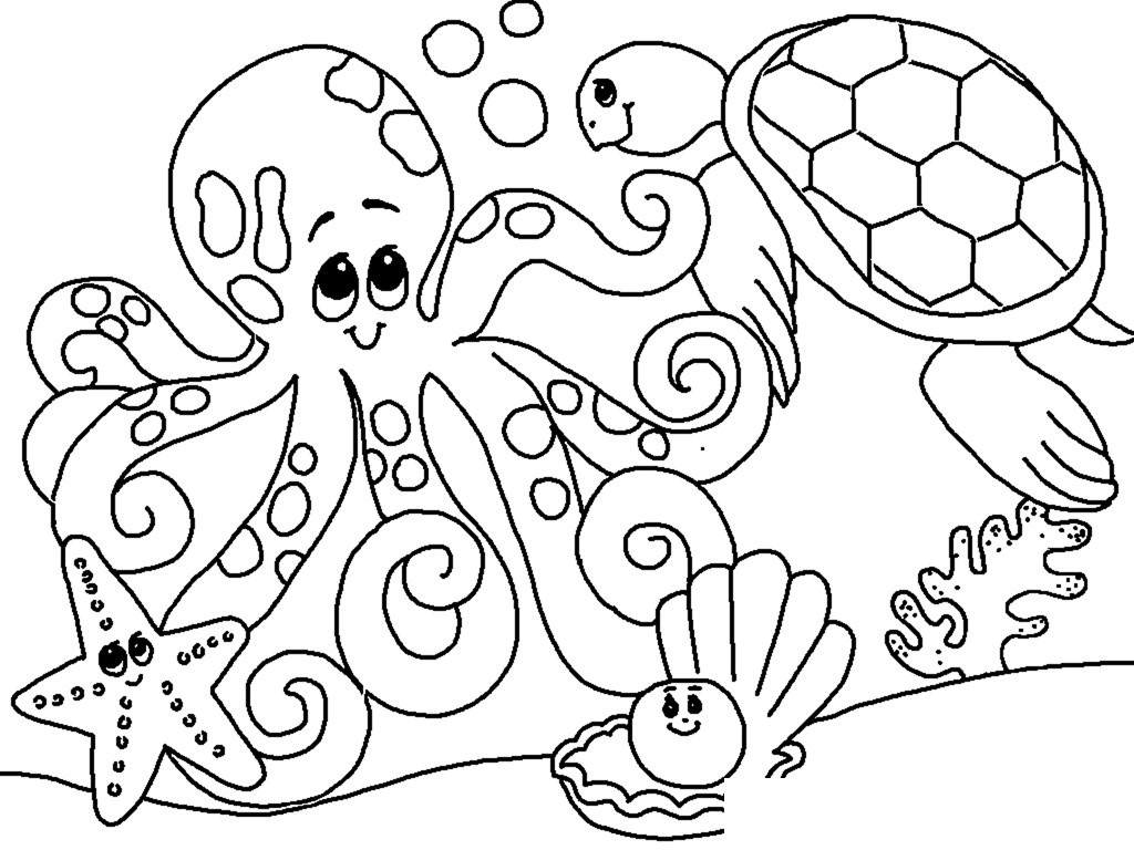 1024x768 Awesome Free Sea Creature Coloring Pages Animals Clam 2 Graphics