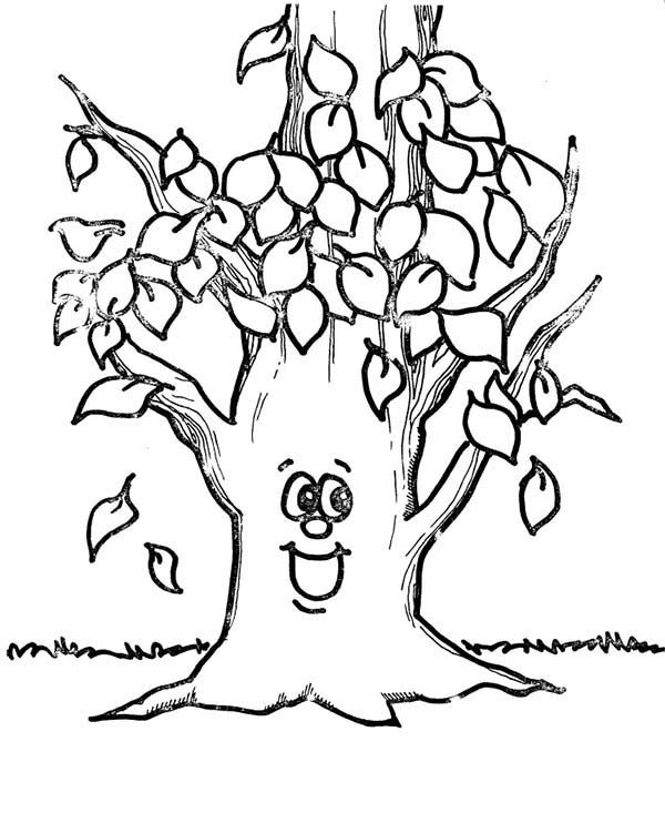 600x733 Fall Leaf, Happy Tree Fall Leaf Coloring Page Halloweenfall