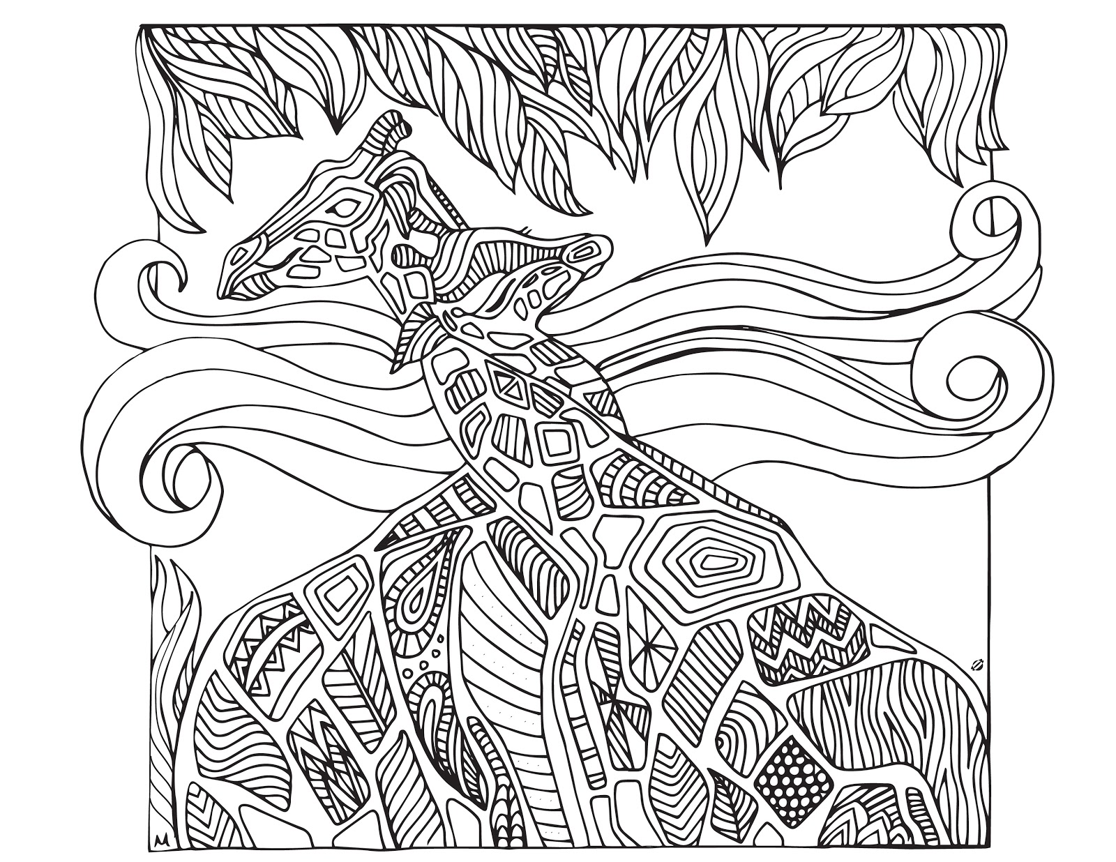 Coloring Pages For Adults Giraffe
