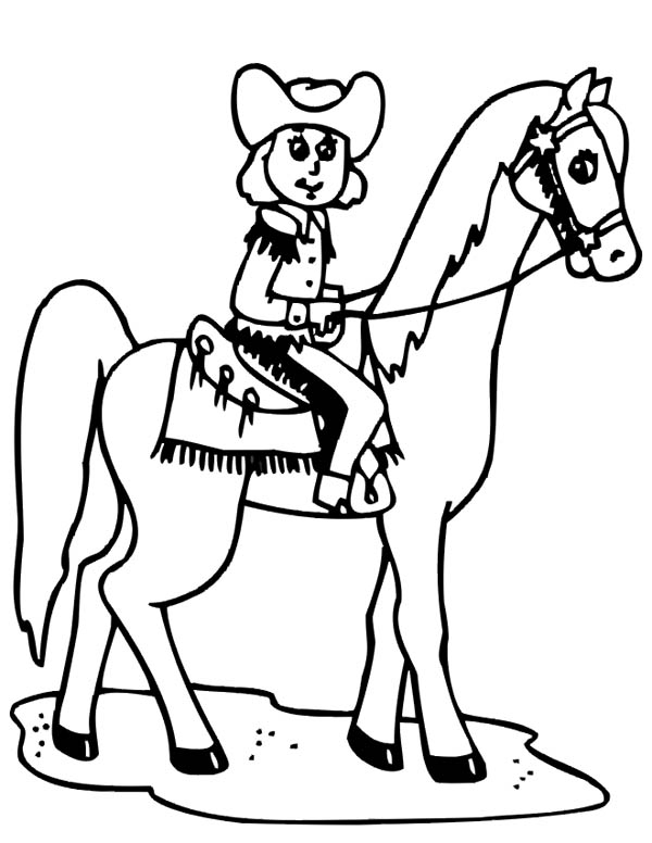 Cowgirl And Horse Coloring Pages