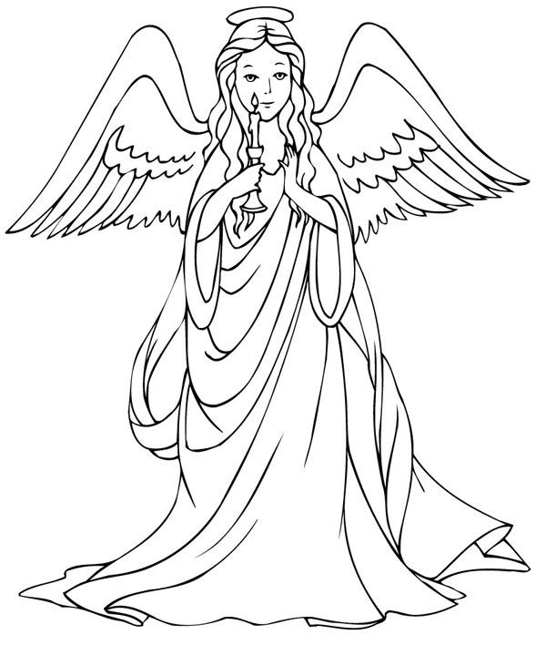 600x708 Cute Angel Coloring Sheet Preschool In Beatiful Free Angel