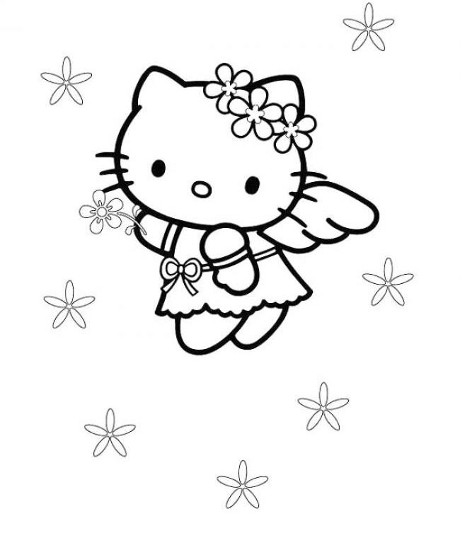 650x767 Cute Hello Kitty Coloring Pages Angel Cartoon Coloring Pages