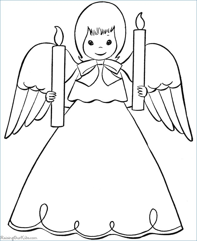 670x820 Cute Little Christmas Angel With Animals Coloring Pages