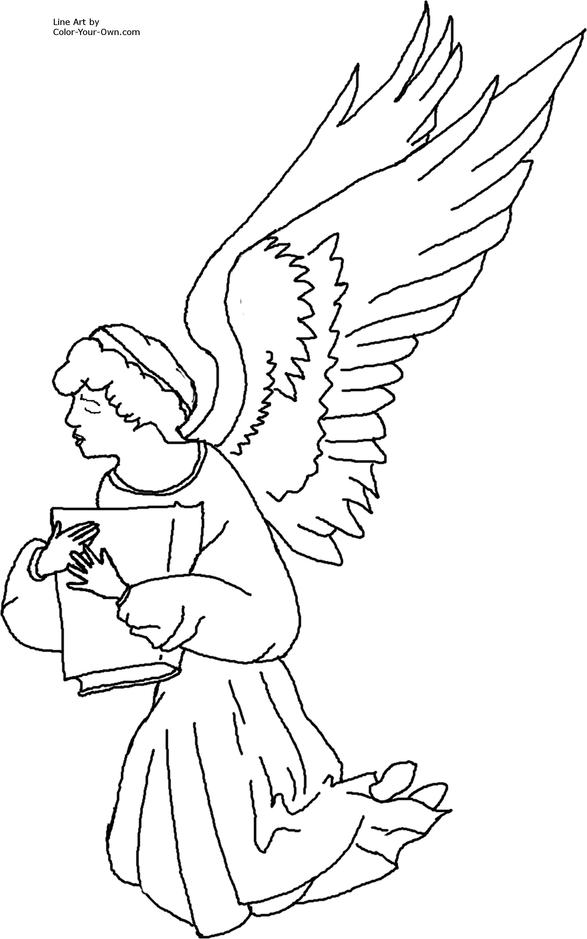 1876x3000 Helpful Angel Pictures To Color Kneeling Coloring Page Sporturka