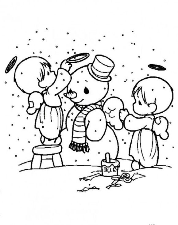 580x736 Snowman Coloring Pages Cute Angels Decorating Snowman 00
