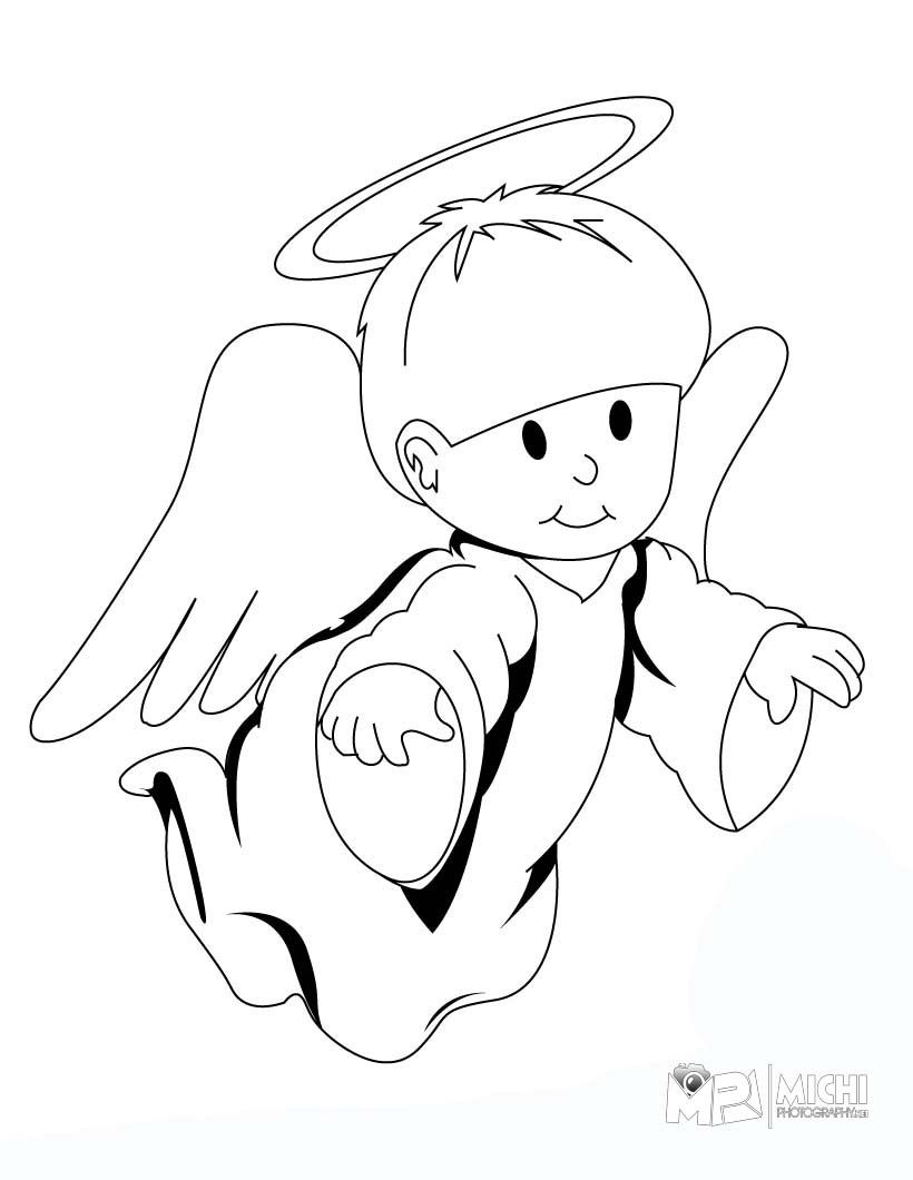 820x1060 Cute Baby Angels Coloring Pages