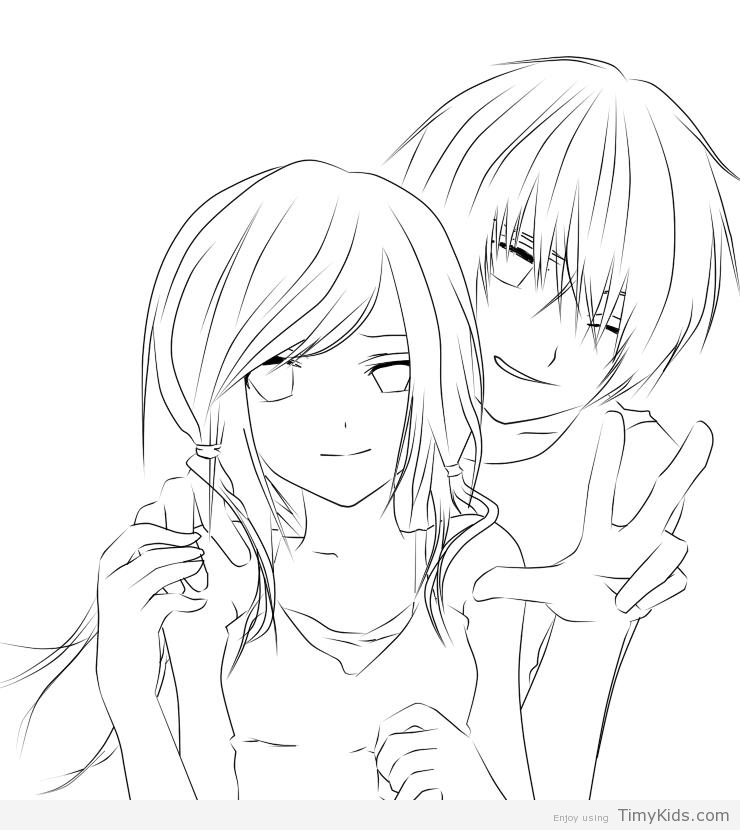 740x830 Cute Anime Couple Coloring Pages