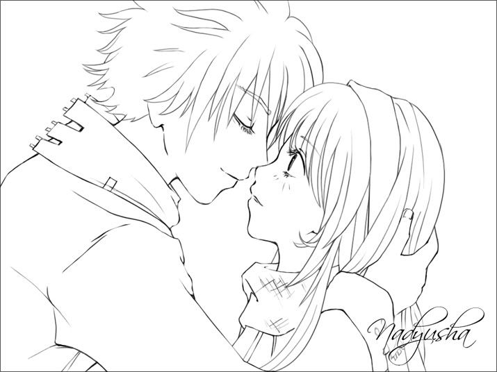 715x536 Anime Couple Coloring Pages