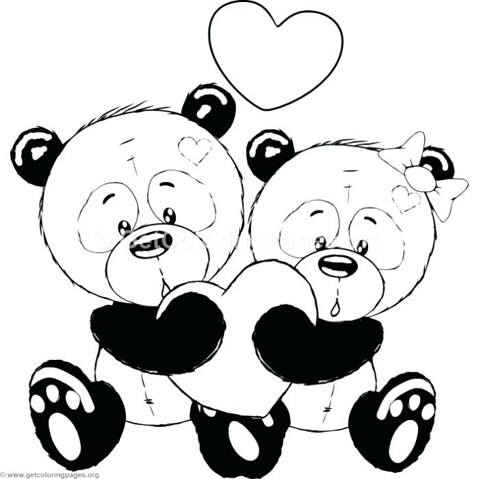 700x700 Cute Panda Coloring Pages Cartoon Animal Romantic Couple In Love