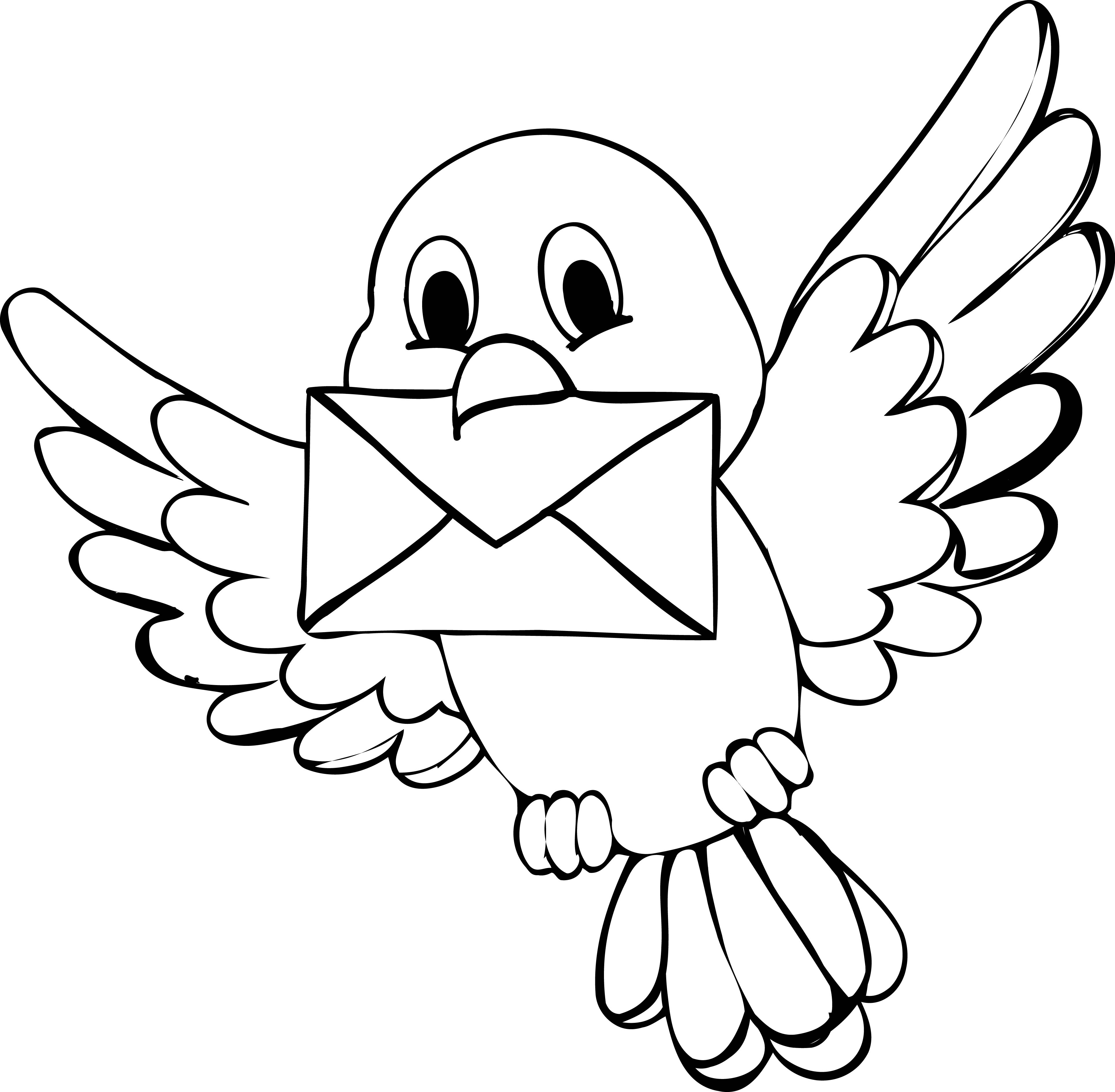 3851x3773 Cute Bird Coloring Page