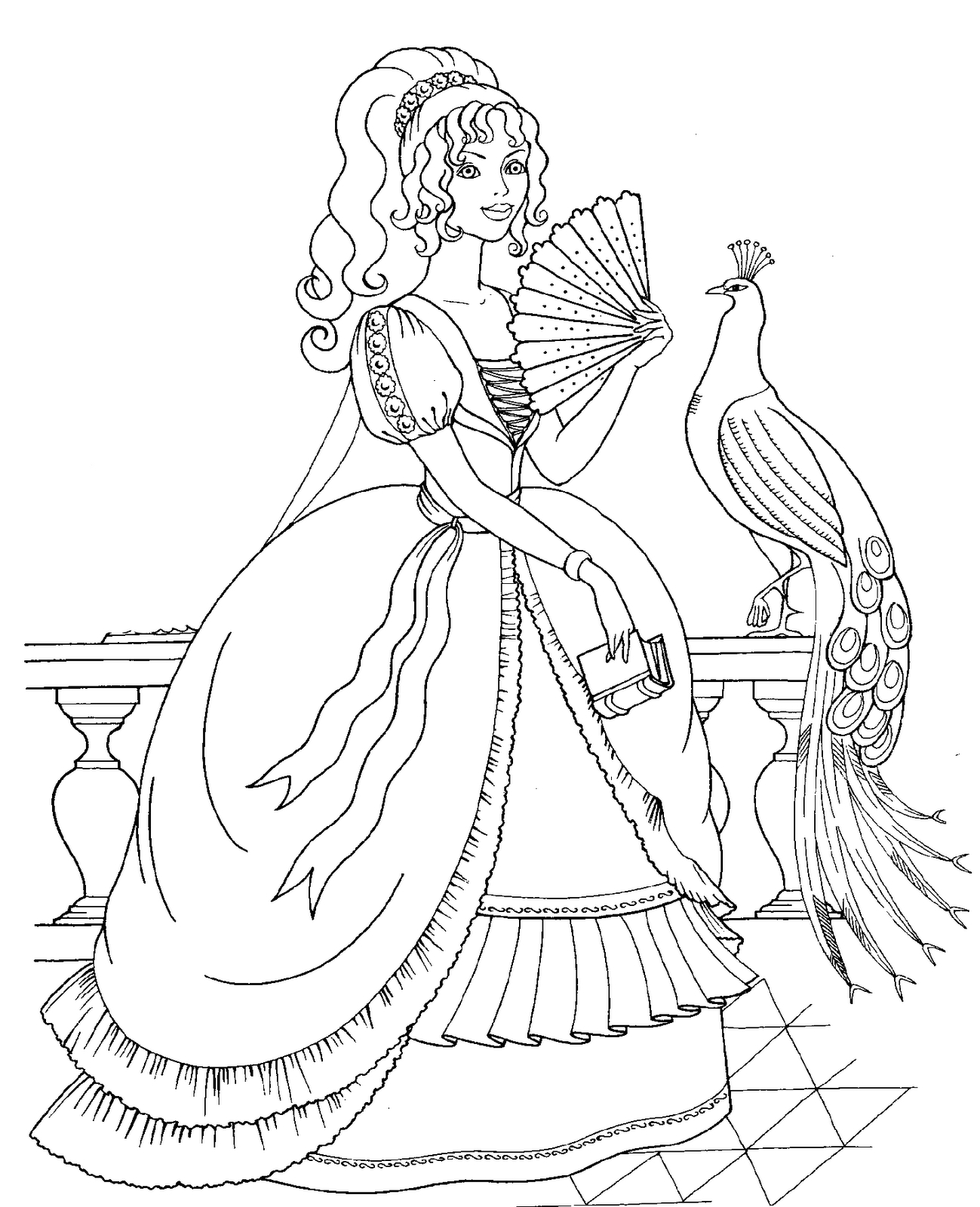 1299x1600 Disney Princess And Bird Coloring Pages Download