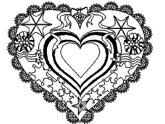 Detailed Heart Coloring Pages