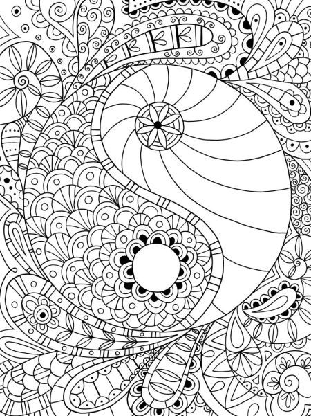 450x601 Ying Yang Dragon Adult Coloring Pages Printable