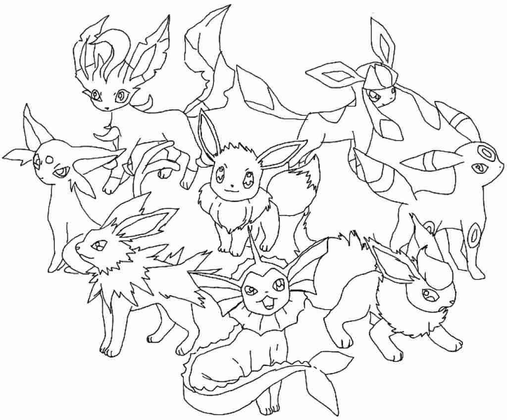 1024x848 Eevee Evolutions Coloring Pages Colouring In Pretty Draw Amazing