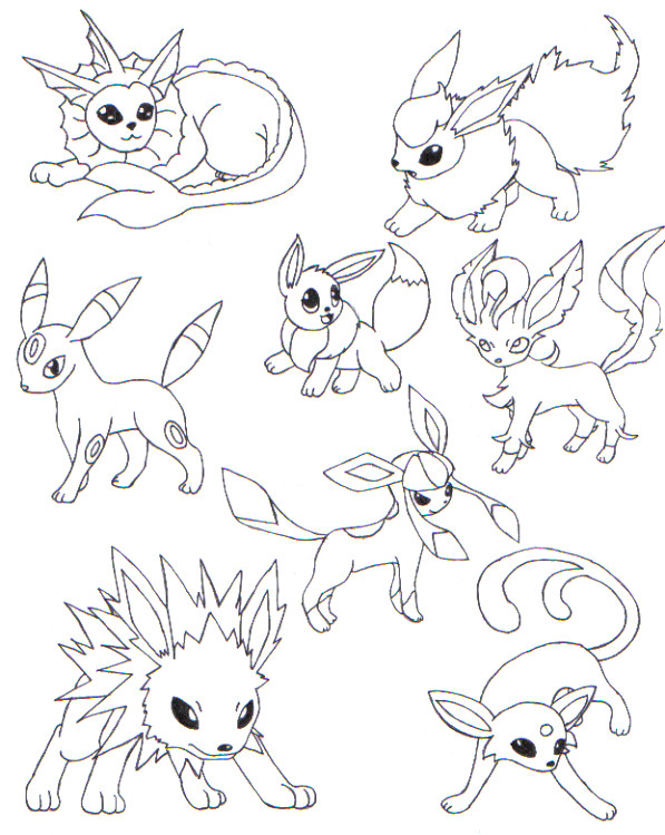 597x749 Eevee Evolutions Coloring Pages Pokemon All Art Get