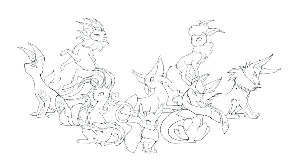 1024x559 Eevee Evolutions Coloring Pages Pokemon Coloring Pages All Eevee