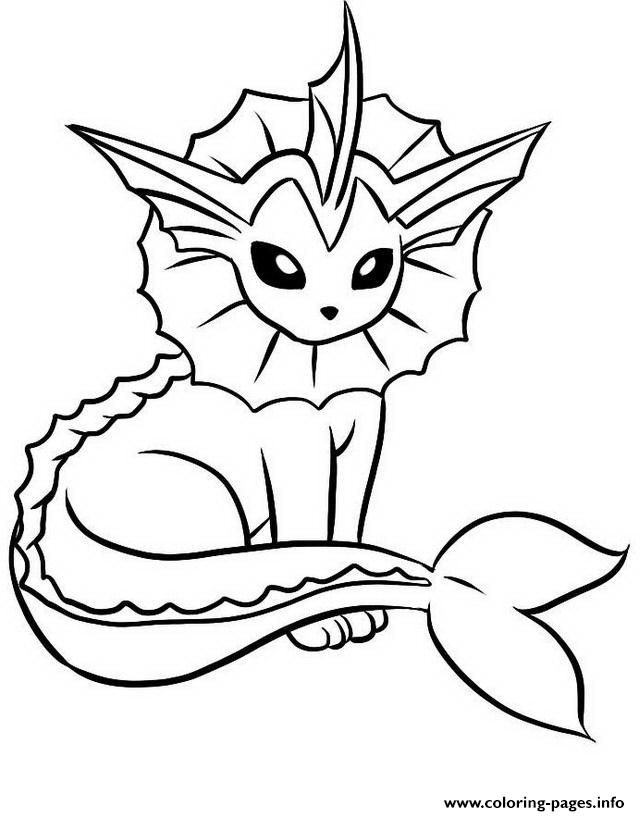 640x816 Eevee Evolutions Coloring Pages Print Vaporeon Pokemon Get Bubbles