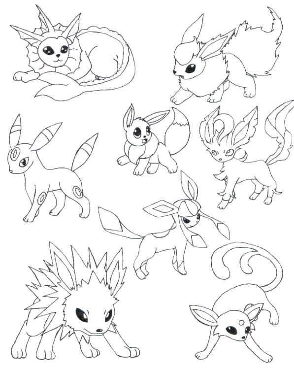 597x749 Eevee Evolutions Coloring Pages Unique Coloring Pages For Line