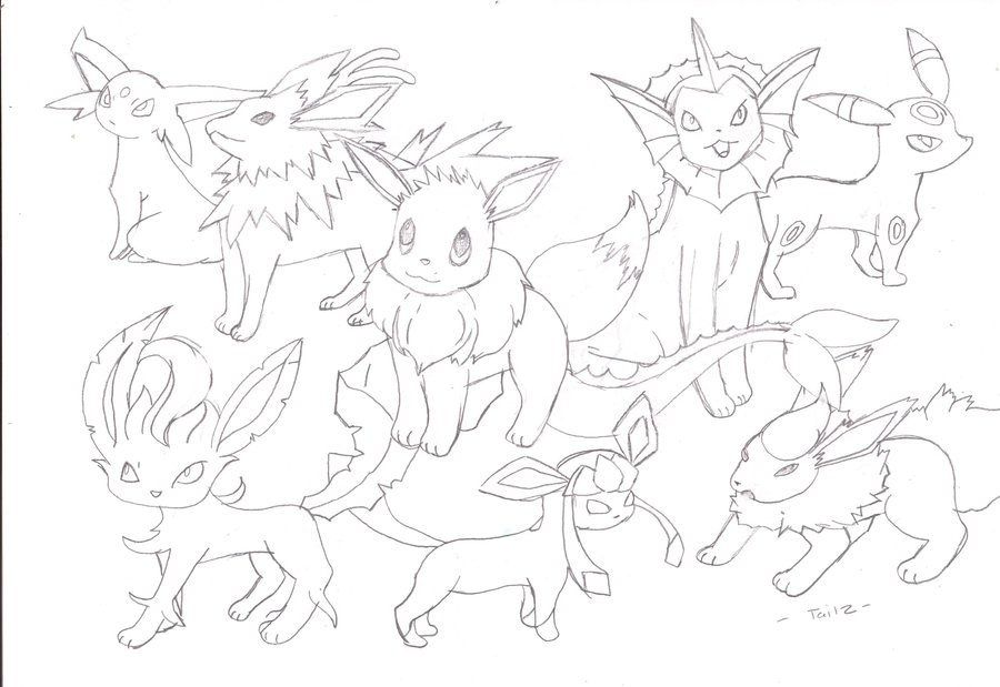 900x619 Pokemon Eevee Evolutions Coloring Pages Eevee Evolution Coloring