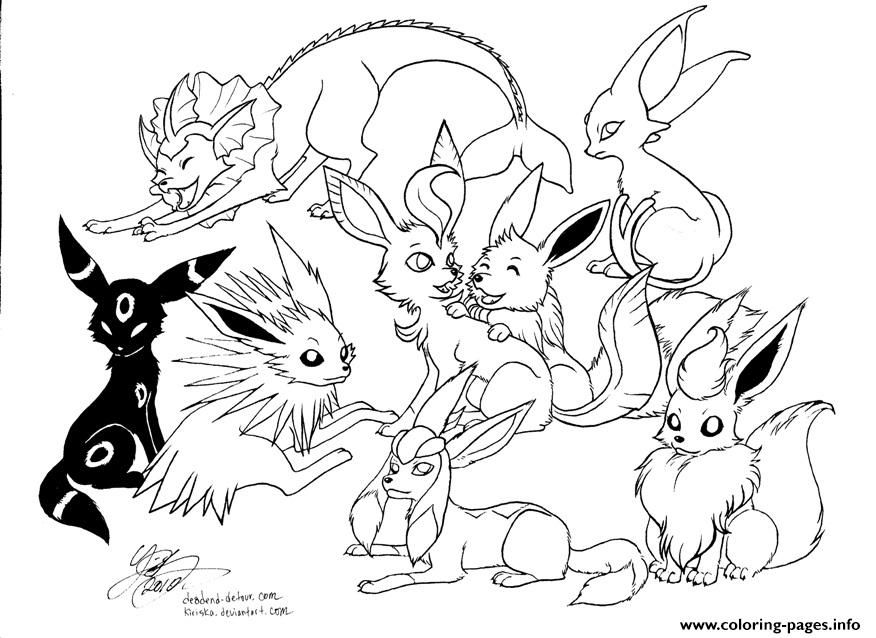 876x638 Print Pokemon Eevee Evolutions Coloring Pages Pokemon