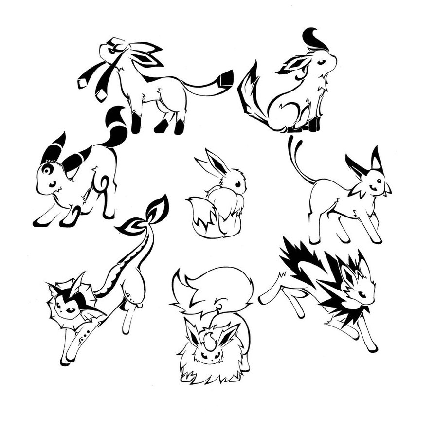 894x894 Security Eevee Evolutions Coloring Pages Aweso