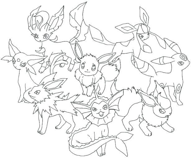 615x510 Coloring Pages Of Pokemon Ngbasiccom Eevee Evolutions Together