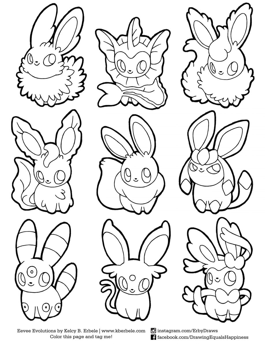 918x1188 Coloring. Eevee Evolutions Coloring Pages Printable Eevee Coloring