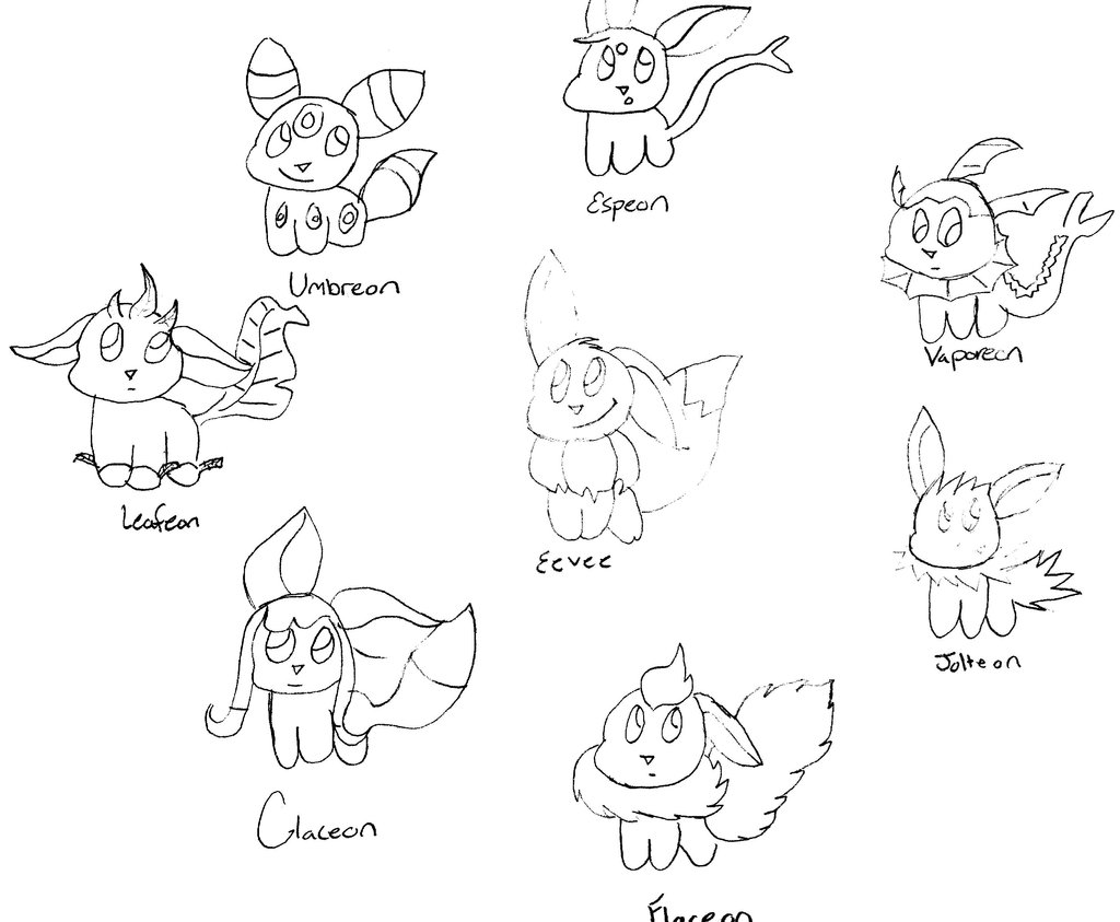 1024x843 Eevee Evolution Coloring Pages Pokemon Evolutions Cool