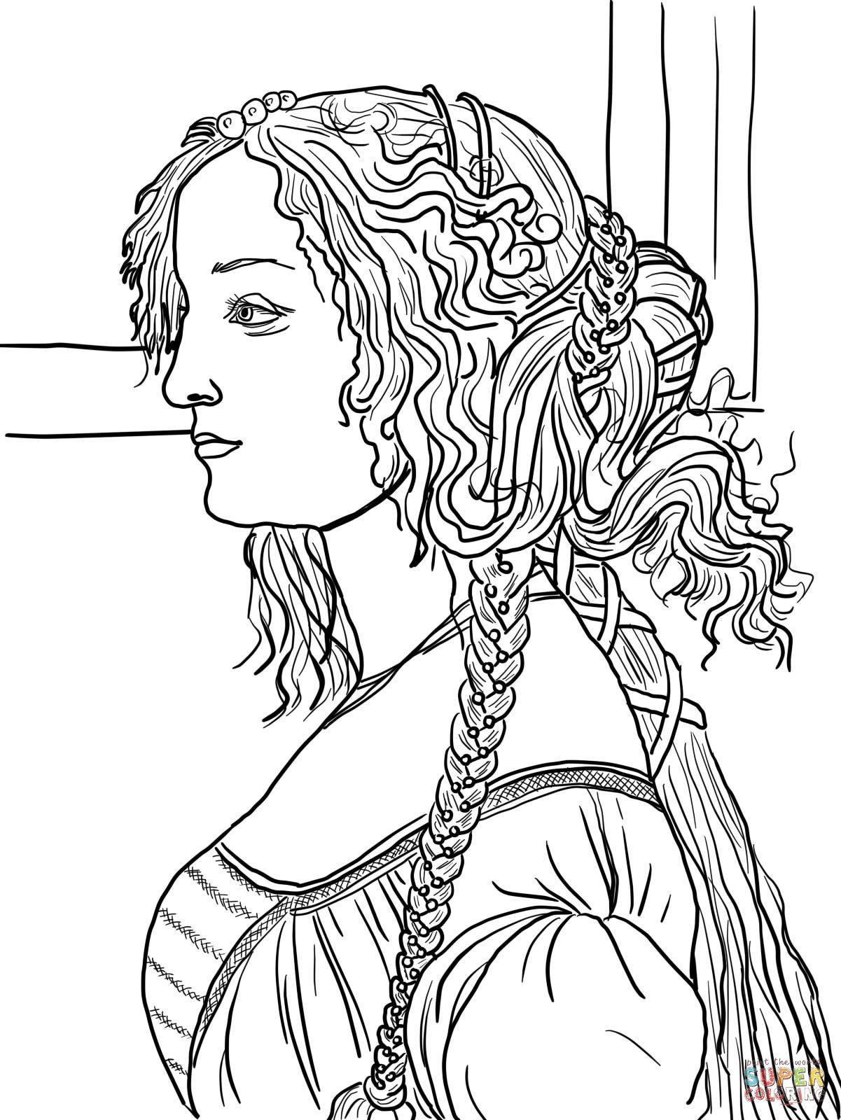 1201x1600 Portrait Of Simonetta Vespucci By Sandro Botticelli Coloring Page
