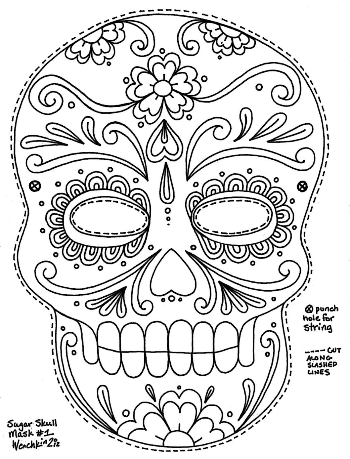 1222x1600 Sugar Skull Coloring Pages For The Masks It Would Hold Up Better