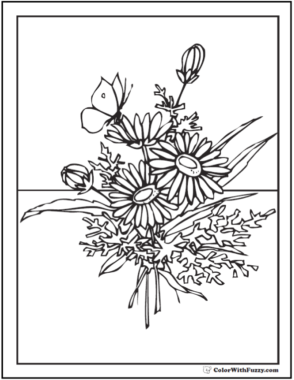 Flower Coloring Pages For Adults Printable