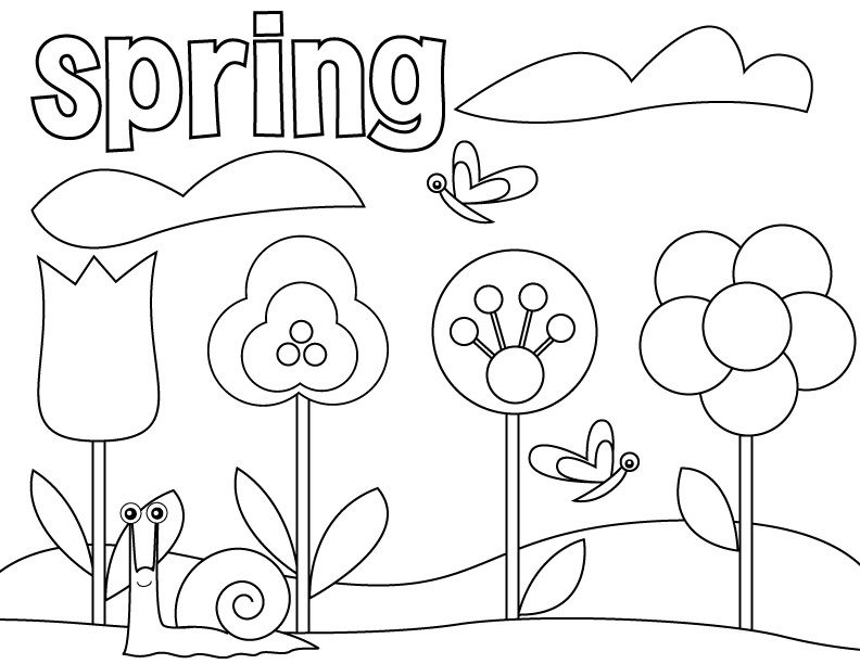 792x612 Free Printable Preschool Coloring Pages Spring Flowers, Sample
