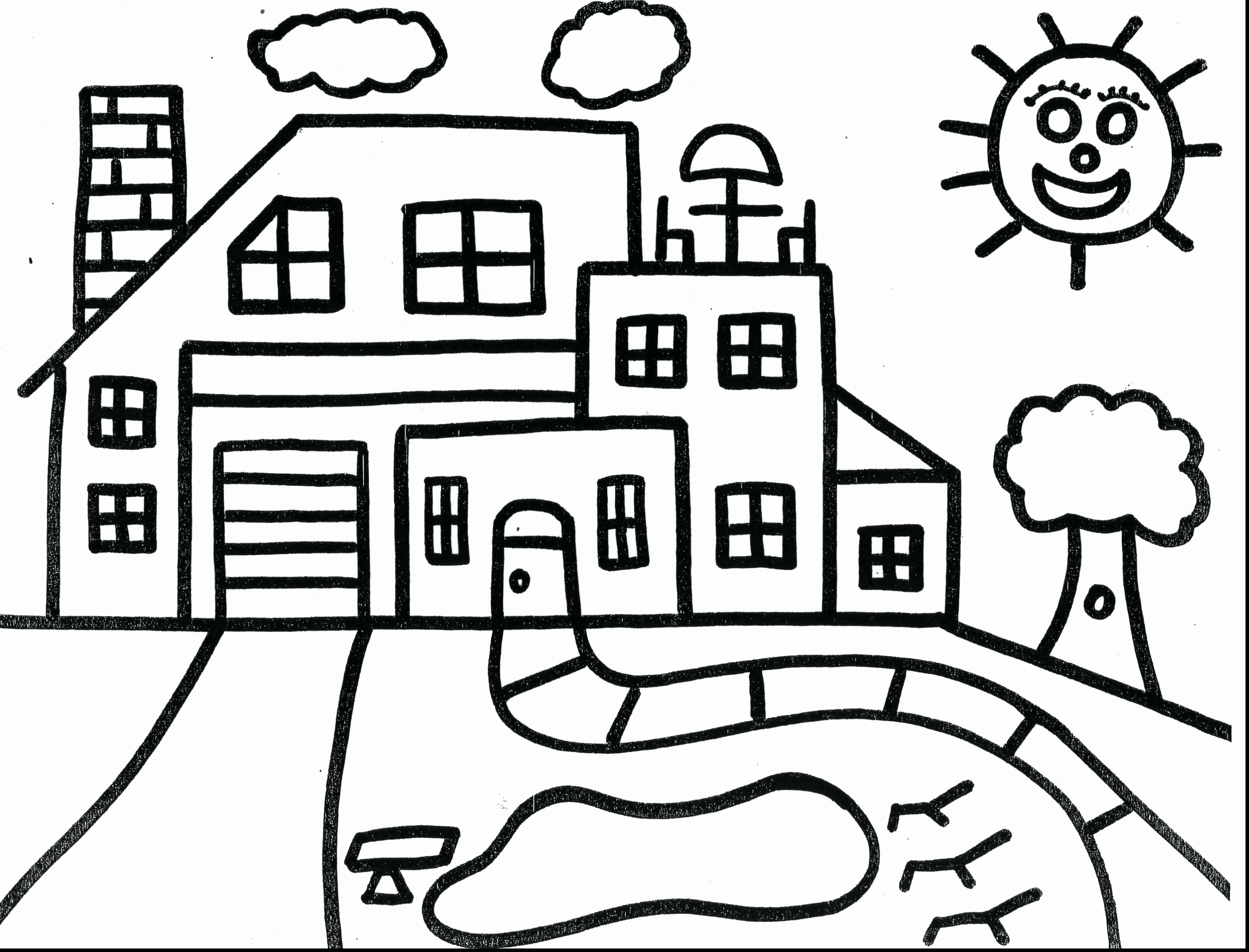 3550x2706 13 Halloween Coloring Pages Haunted House Page