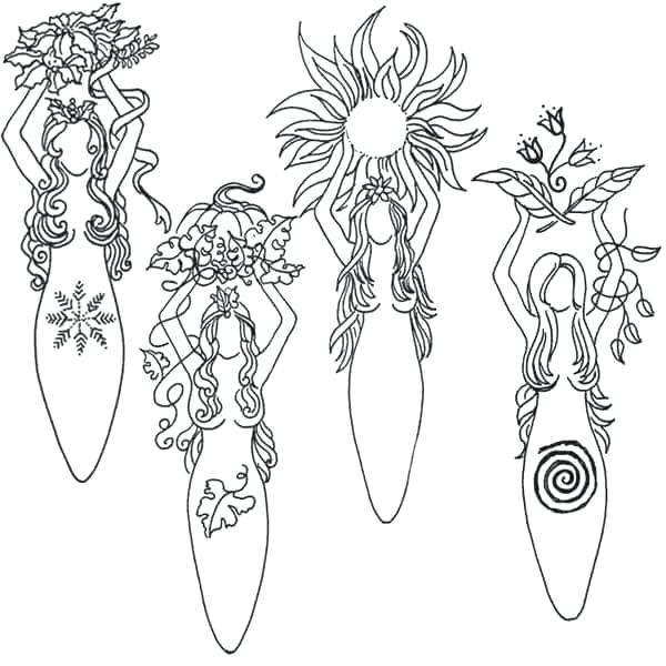 600x600 Pagan Coloring Pages Earth Goddess Page Free