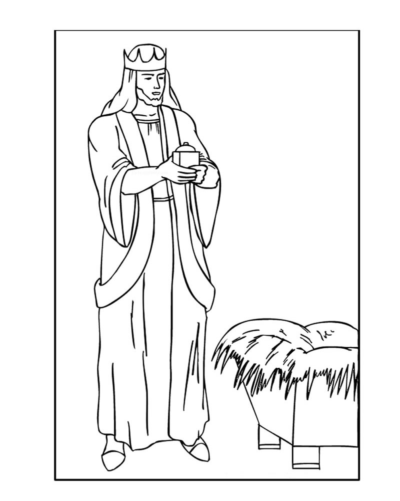 800x1000 Melchior The White Bearded Wise Man Coloring Pages
