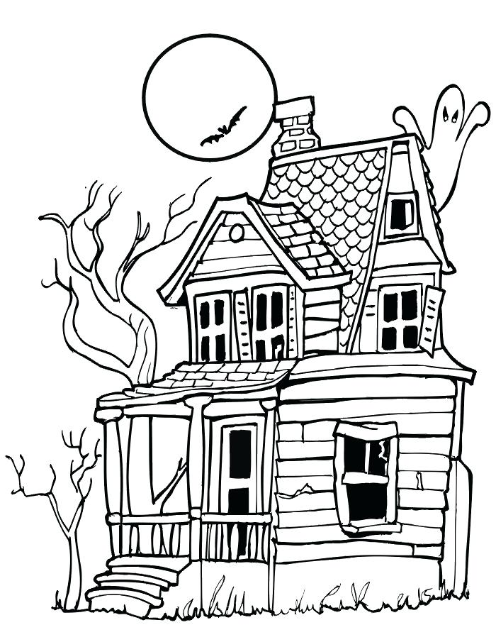 700x905 Halloween Coloring Pages Haunted House Spooky Halloween Coloring