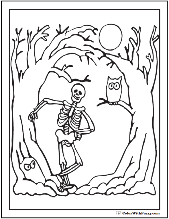 Halloween Tree Coloring Page