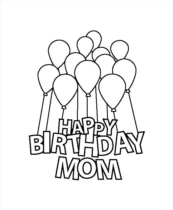 600x730 Birthday Color Pages Happy Birthday Mom Coloring Page Free