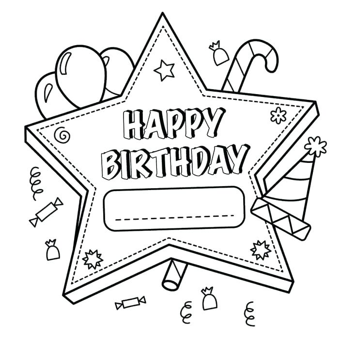 735x697 Printable Happy Birthday Coloring Pages Free Printable Happy