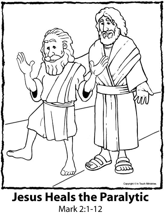 Jesus Heals The Paralyzed Man Colouring Pages