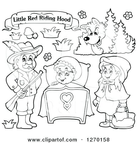450x470 Of A Little Red Riding Hood Open Book And Characters Free Coloring