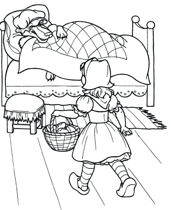 600x735 Bed Coloring Pages Little Red Riding Hood Red Riding Hood Walking