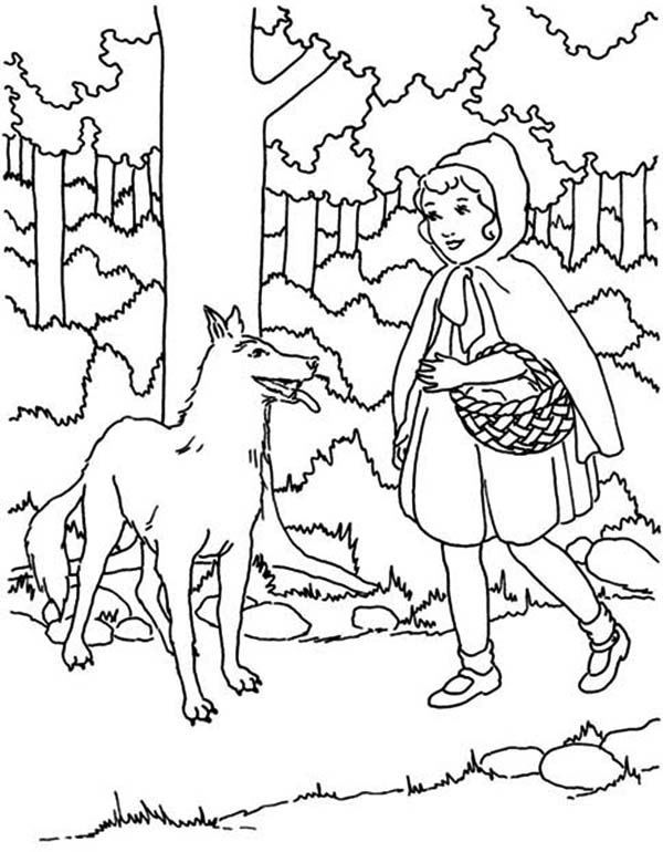 600x770 Red Riding Hood Meet The Wolf Coloring Pages Batch Coloring
