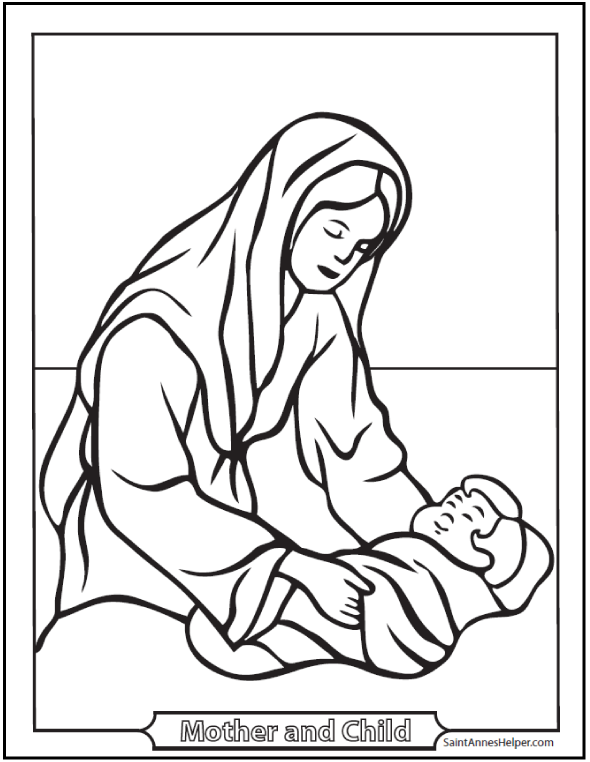 Mary Joseph And Jesus Coloring Pages