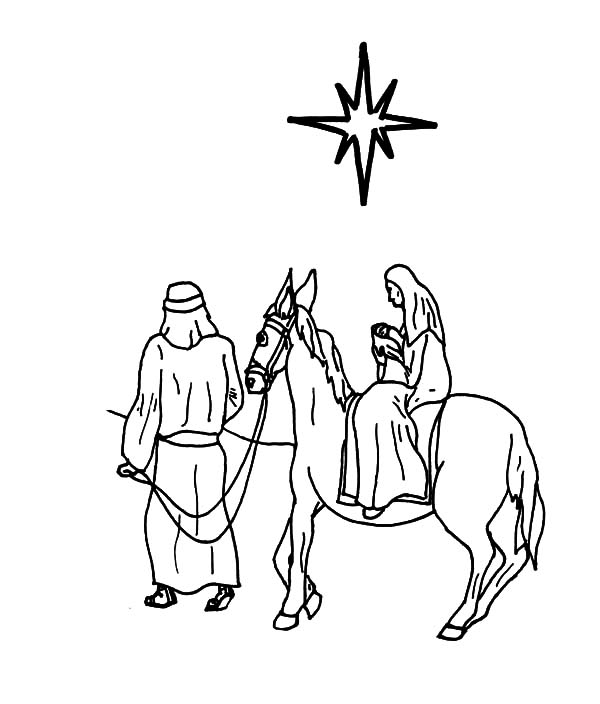 Mary Joseph Jesus Coloring Pages_