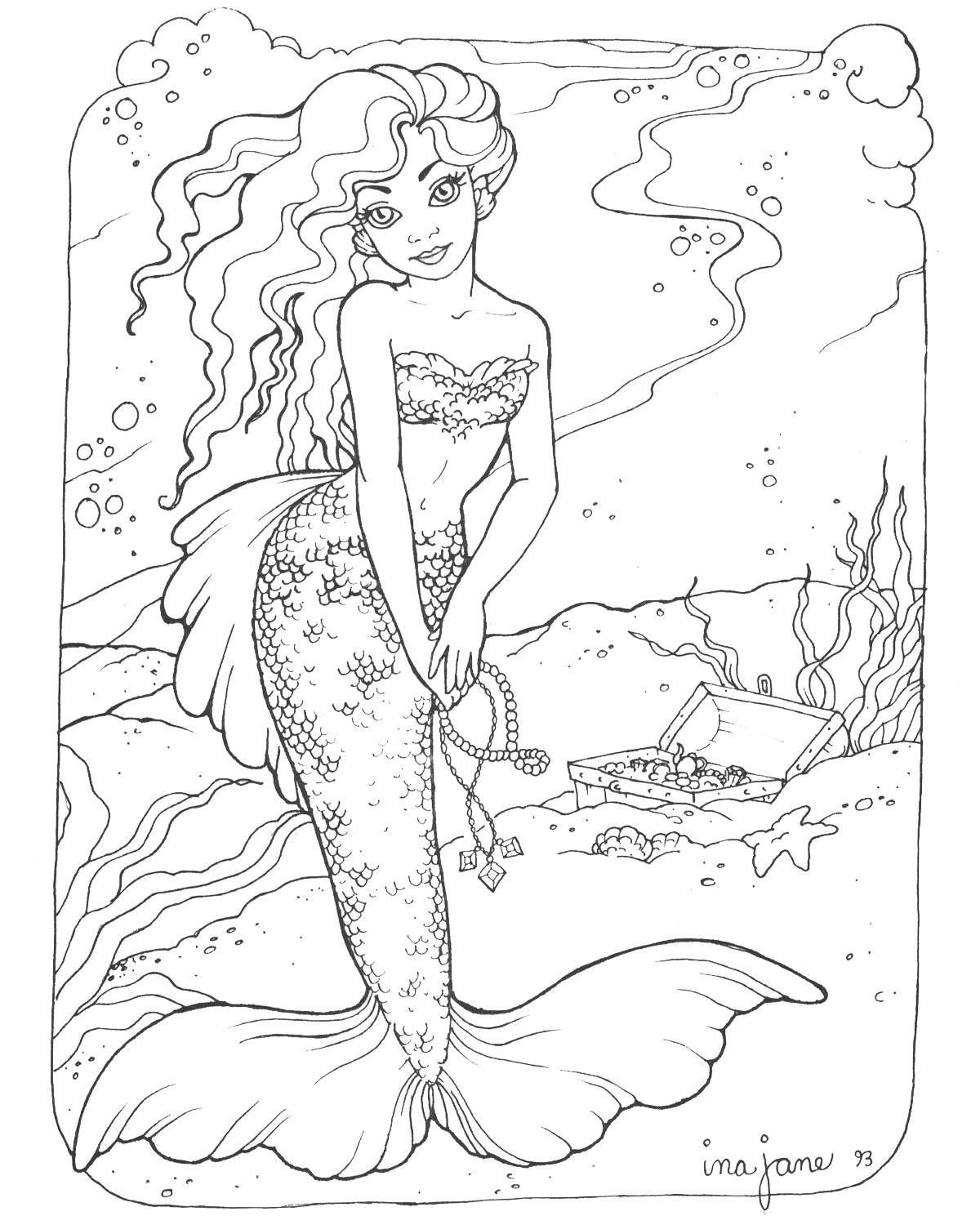 1200x1500 Mermaid Coloring Pages